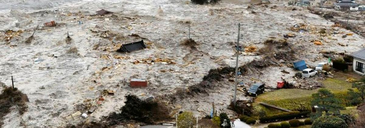 Un tsunami golpea la costa